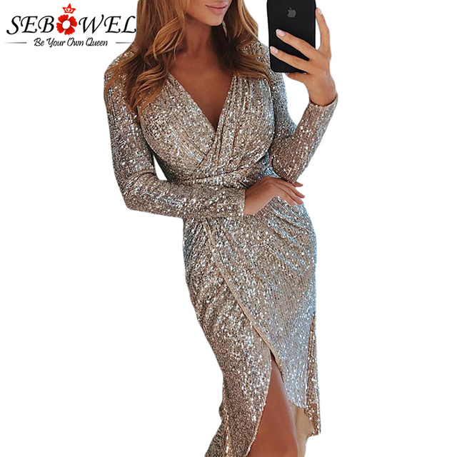 SEBOWEL Sexy Sequin Party Dress Women Gold Silver Glitter Club Dress Long  Maxi Shine Evening Gown Female Wrapped Ruched Dress 1cb49d6a0799