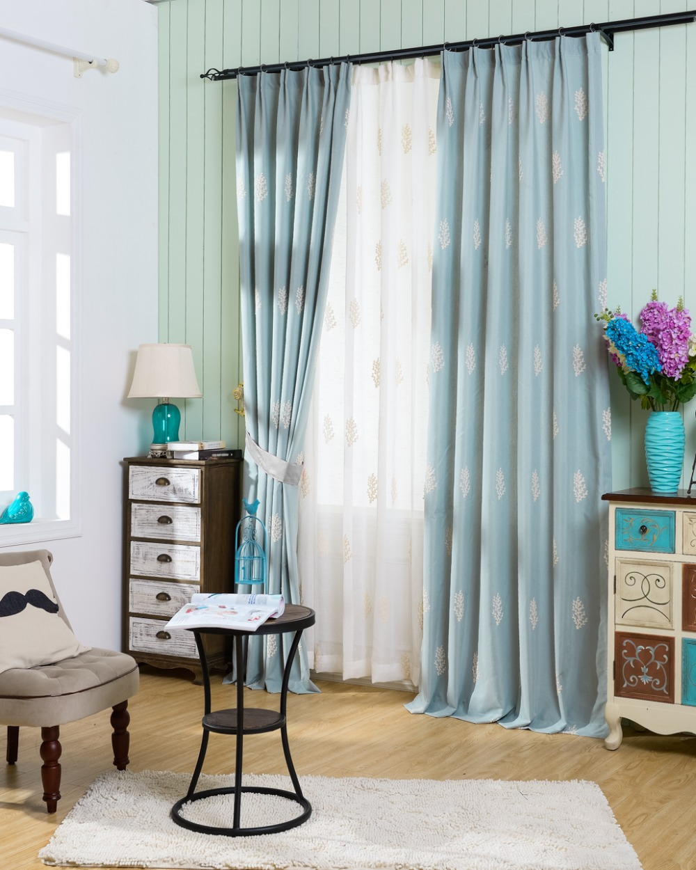 Embroidery tree leaves tulle curtains window quality - Rideaux pour salon ...