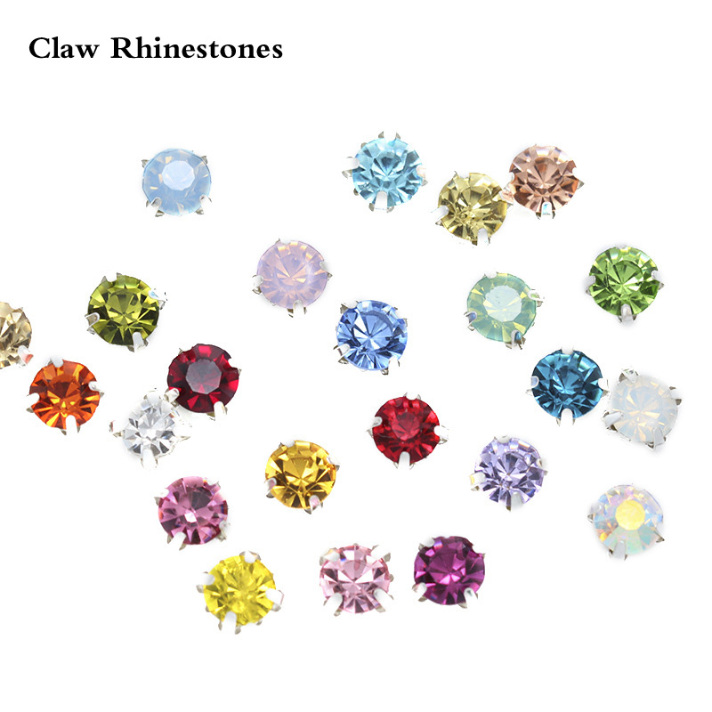 3mm-8mm Silver Claw Cup Base Sewing Rhinestones Garment Accessories Crafts Crystals Glass Strass Sew on For Clothes