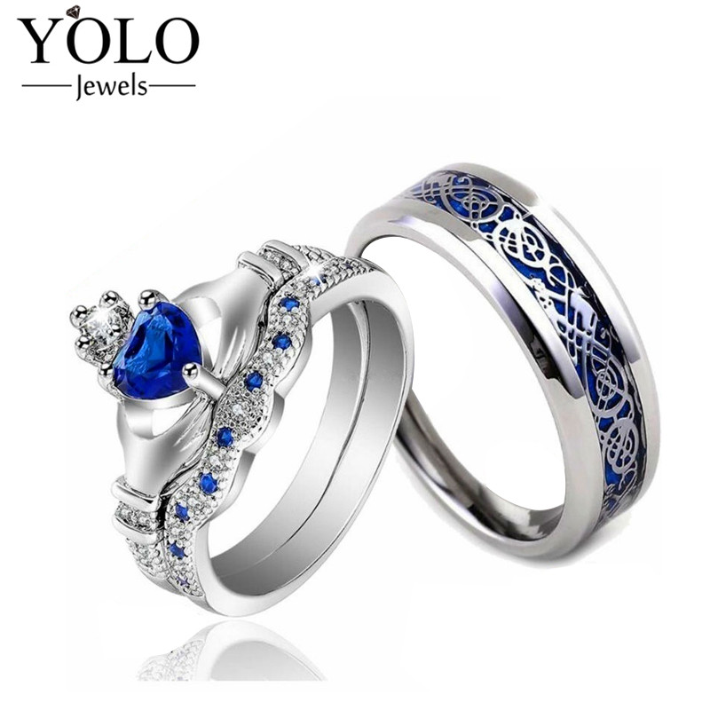 все цены на YOLO Jewels Couple Rings Blue Color Crown Shape AAA Cubic Zirconia Ring Sets for Women Stainless Steel Stripe Ring Band for Men онлайн
