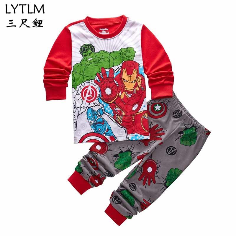 LYTLM Marvel Avengers Clothing Set Superhero Ironman Hulk Captain American Baby Boy Cotton Clothes to Sleep Children Pajama Set rabbit print pajama set