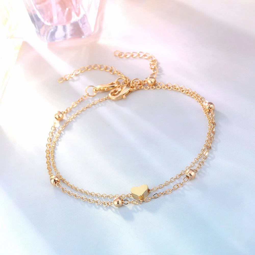 Simple Heart Ankle Layering Pendant Anklet Beaded Foot Jewelry Summer Beach Anklets On Foot Ankle Bracelets For Women Leg Chain 7