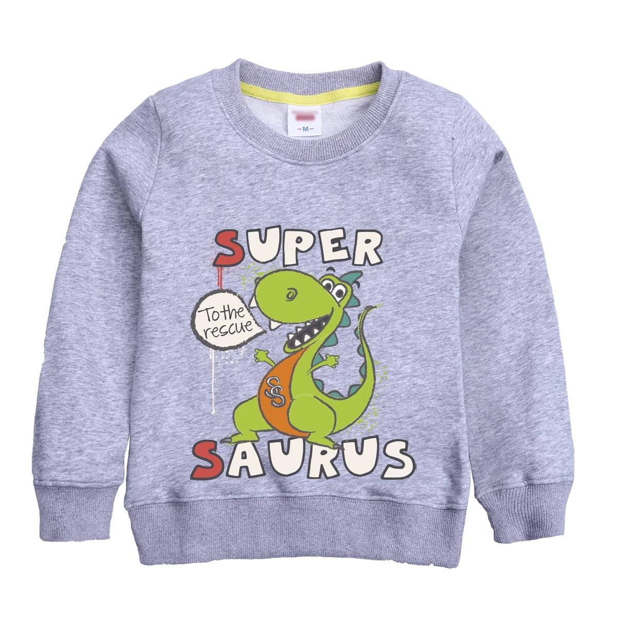 SUPER SAURUS pattern printed new fashion winter autumn sweatshirt design for boy winter sweater keeping warm of casual clothing