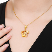 Lady Fashion Necklace Pendant Gold Color Pendant for Woman Cute Butterfly Design Romantic Jewelry Gift for Mother