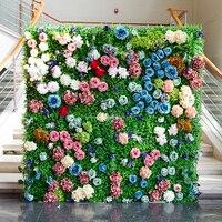 2 м x 2 м зеленая трава фон с красочными свадебный цветок стены цветок на фоне розы и Пион Свадебные украшения