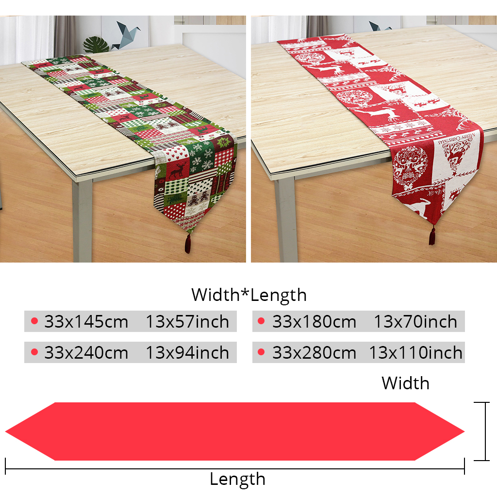 US $11 59  Vintage Christmas American Style Table Runner 33x280cm Large  Size Red Green Colors Elk Snowflake Xmas Tree Printed Table Cover-in Table
