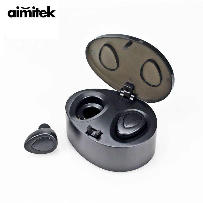 Aimitek K2-HD Mini TWS Bluetooth Earphones True Wireless Stereo Earbuds Hands-free Headsets with Mic Charging Box (Upgraded K2)