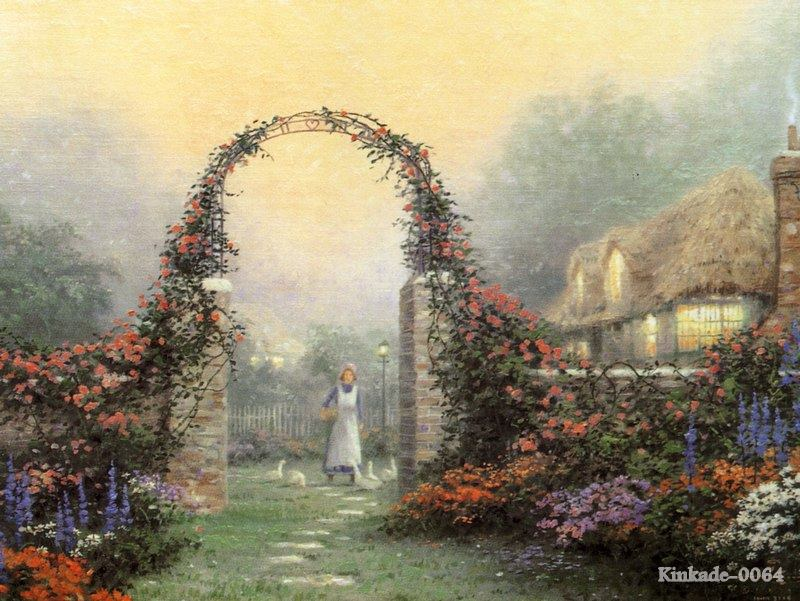 Thomas kinkade prints of oil painting the rose arbor - Home interiors thomas kinkade prints ...