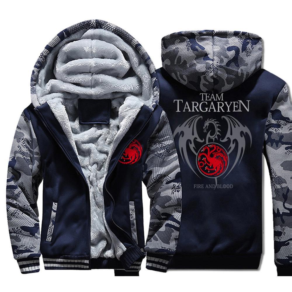 Game of Thrones Targaryen feu & sang mode homme sweats capuches 2019 hiver chaud hommes veste à capuche manteau décontracté veste