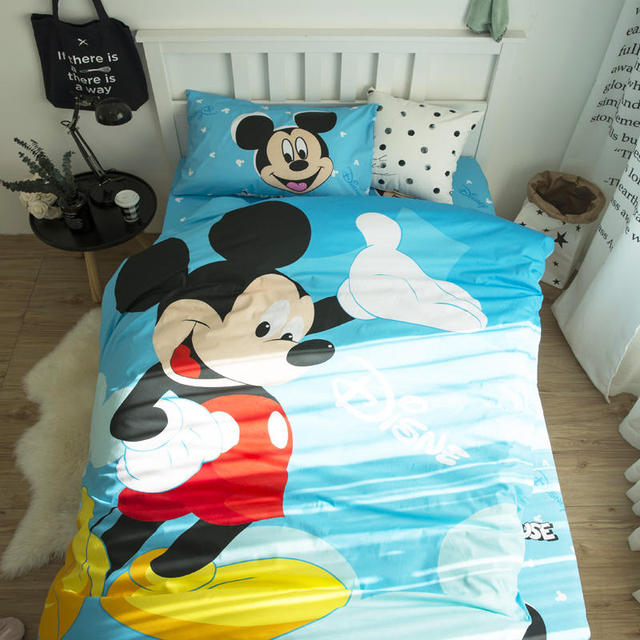 Disney Mickey Mouse Bedding Set Twin Size Duvet Cover For Kids Bedroom  Decor Cotton Bed Sheet