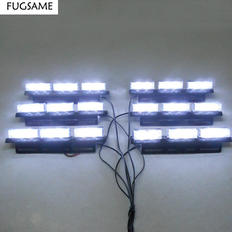 FUGSAME FREE SHIPPING Super Bright 6*6 LED Car Strobe Light High Power WHITE free shipping second hand 12v 16 5a 10cm super violent metal fan car modified high power electric turbocharger thick line