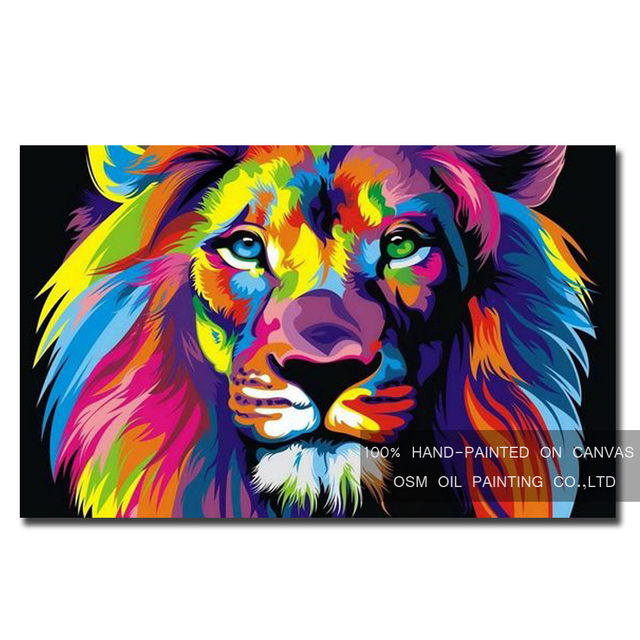 Skills Artist Hand-painted High Quality Modern Lion Oil Painting on Canvas Colorful Lion Head Oil Painting for Wall Decoration