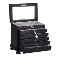 Luxury Large Wooden Jewelry Box Black Jewellery Organizer Cabinet Mirror Storage Case Armoire Casket For Necklace