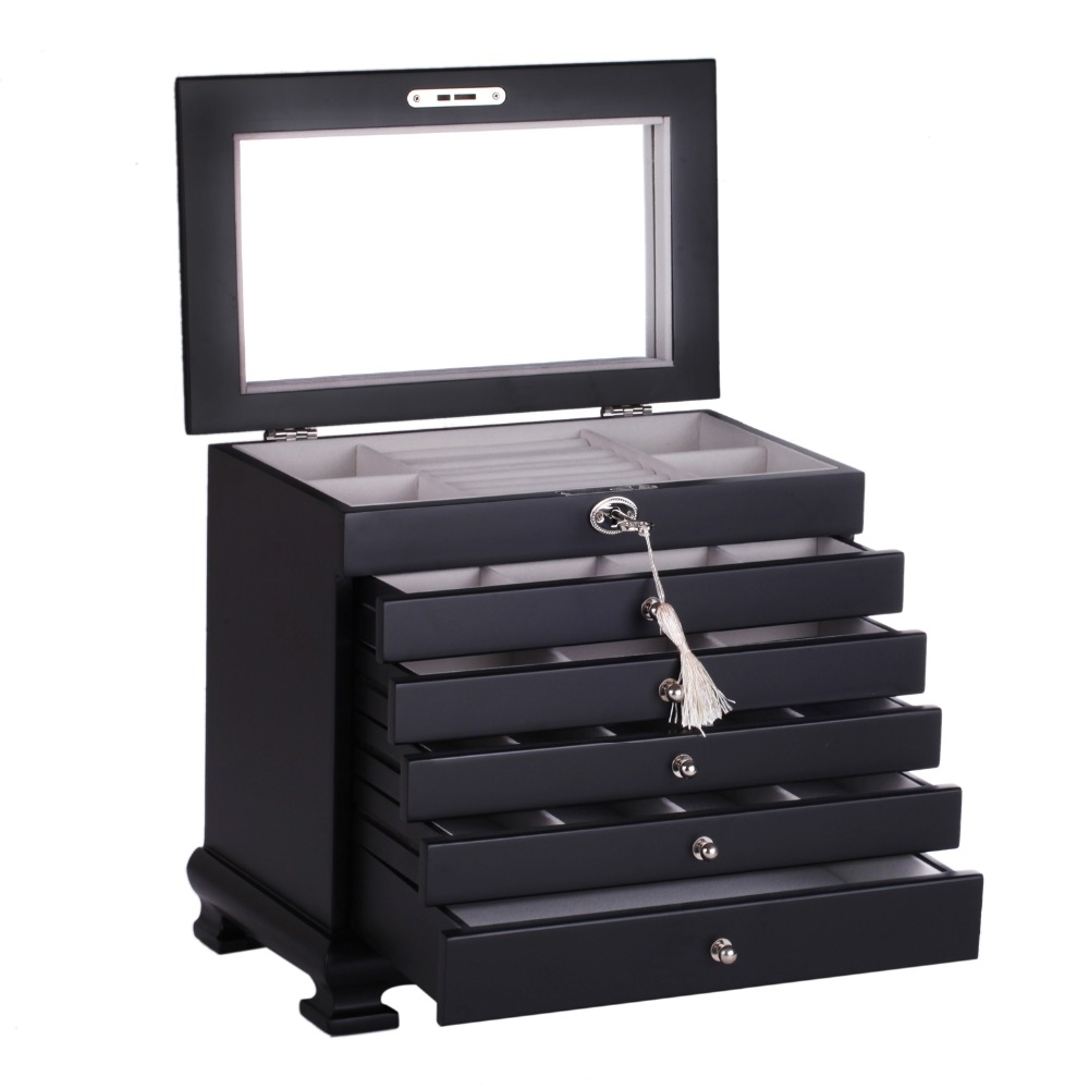 Luxury large wooden jewelry box black jewellery organizer - Miroir armoire bijoux ...