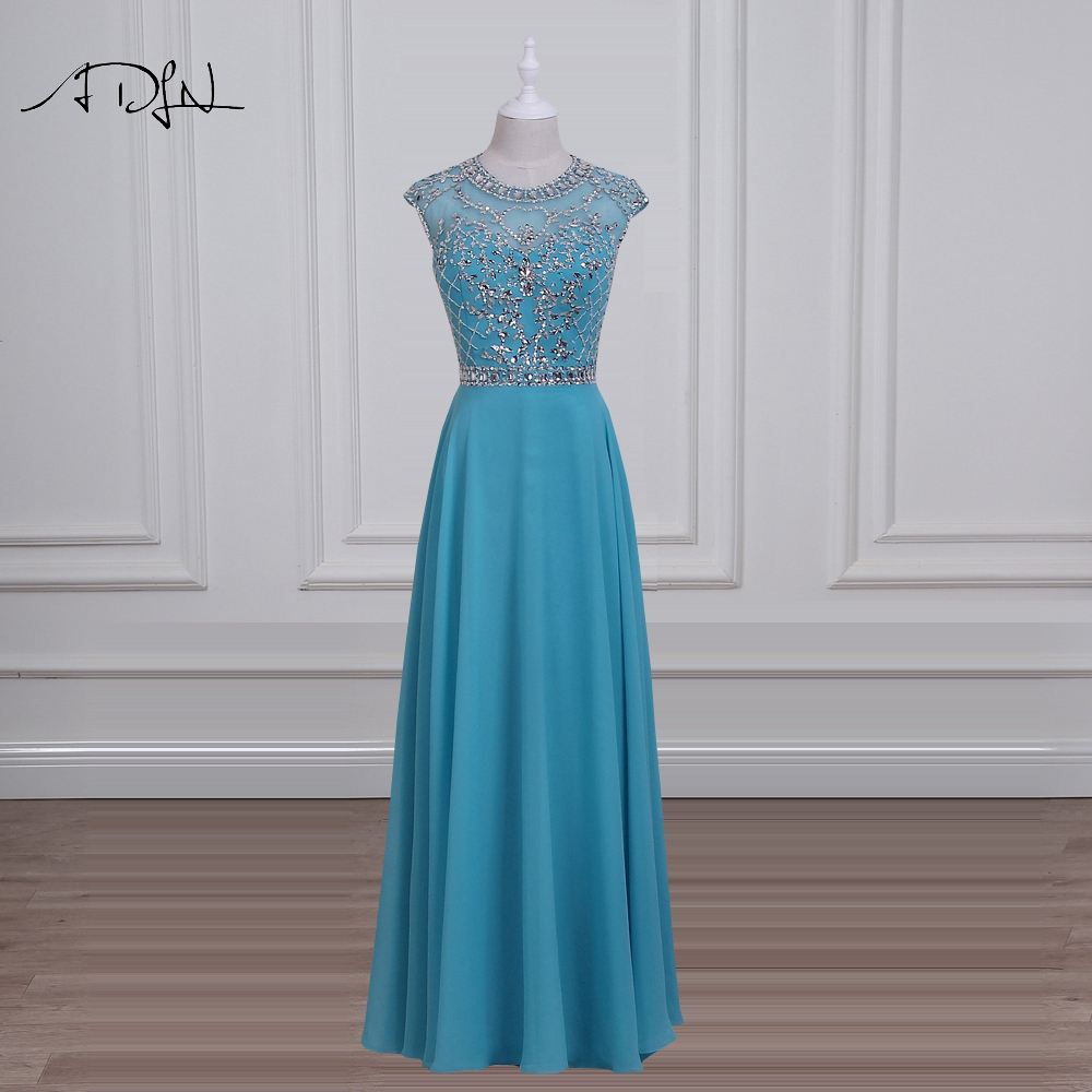 ADLN Luxury Blue Evening Dress with Crystals O-neck Cap Sleeve Chiffon Long Party Dresses Sexy Backless Prom Wear