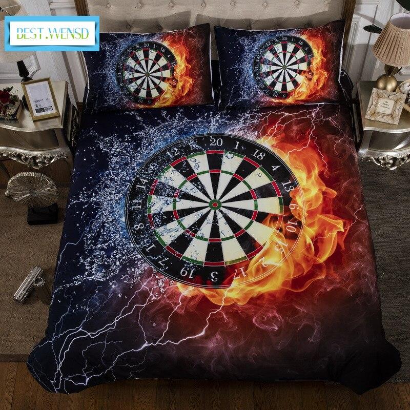 BEST WENSD wholesale 3D Dart disc comforter linen cotton bedding 3pc Geometric pattern home textile duvet