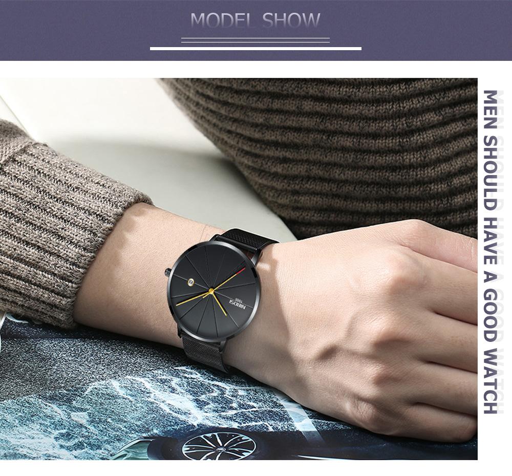 NIBOSI watch men black quartz wristwatches stainless steel mesh brand  watches men ultra thin quartz relogio masculino dourado (15)