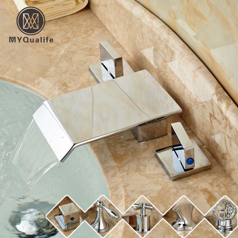 Bright Chrome Waterfall Bathroom Tub Sink Mixer Faucet Dual Handle Square Waterfall Spout Washing Basin Taps classic led color changing waterfall spout bathroom tub sink faucet dual handle deck mounted basin washing taps