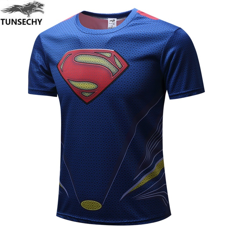 New 2017 Blue superman and the United States black venom spider-man T-shirt Male personality childe shirt with short sleeves