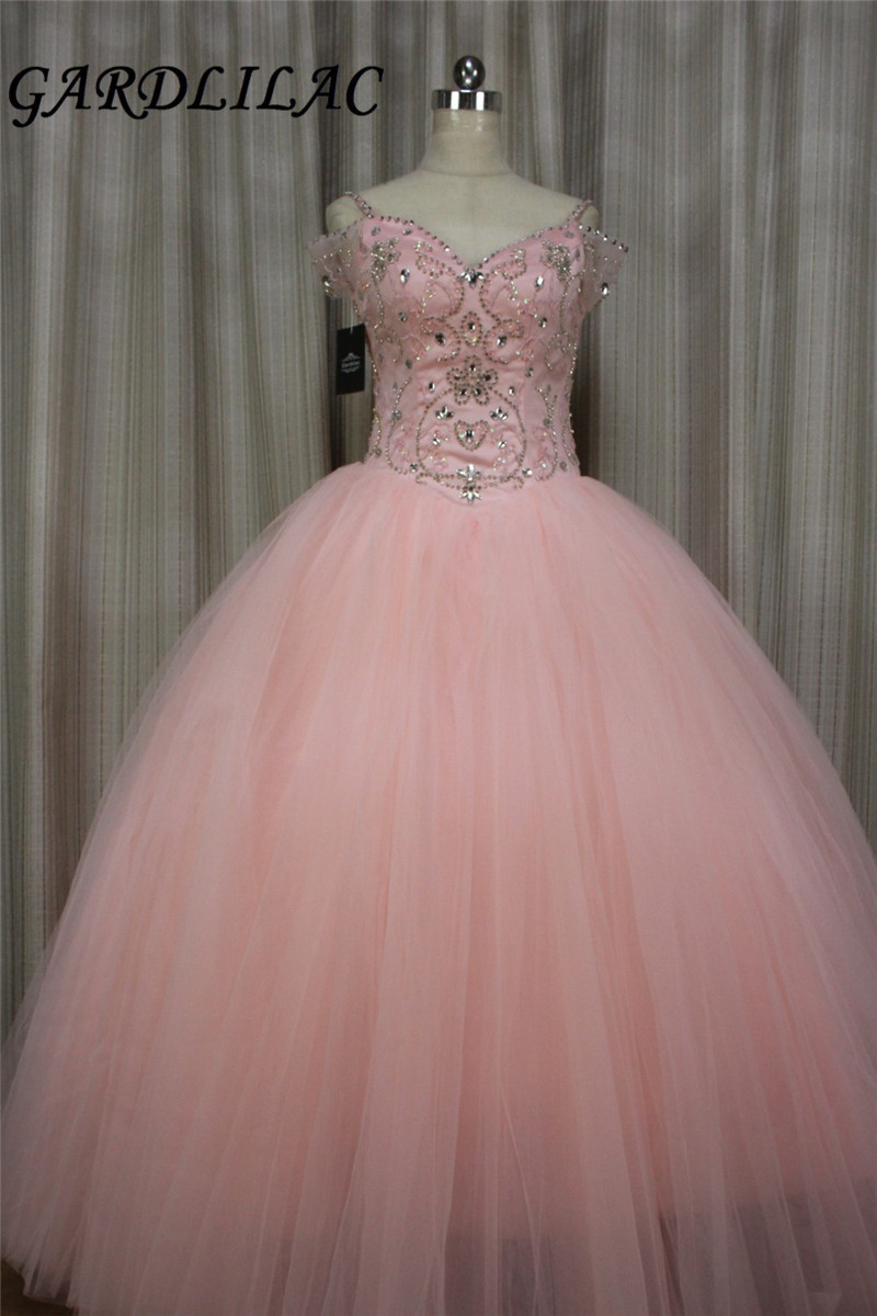 Tulle and Stain Sweetheart Beading Coral Ball Gown Quinceanera Dresses for Sweet 16 Vestido festa de 15 anos