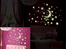 New Arrival Wall Stickers Home Decor Glow In The Dark Star Moon Stickers Decal Baby Kids Gift Nursery Room Free Shipping
