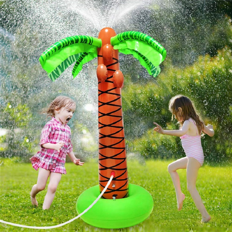 Inflatable Water Sprayer Octopus 1.6M Inflatable Coconut Palm Tree Water Sprinkler Inflated Children Beach Lawn Play Toys