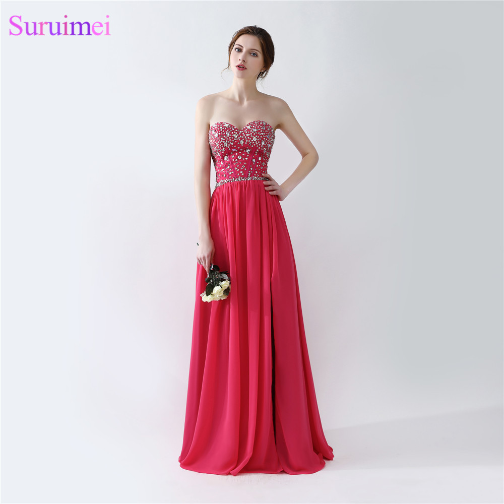 Rose Pink Prom Dresses Floor Length Beaded Semi Formal Side High