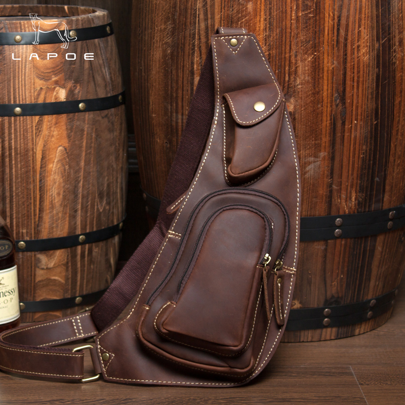 LAPOE genuine leather men bag small Male crossbody bag messenger bolsos hombre bandolera vintage Crazy Horse Leather man bags цена