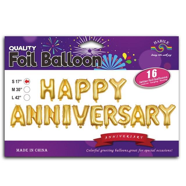 17 inch happy anniversary aluminum Letter banner balloon anniversary