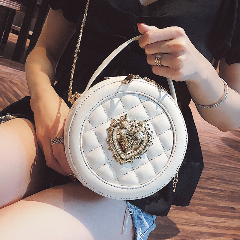 2019 NEW Embroidered Shoulder Bag Women Leather Handbag Chain Crossbody Round Circular Brand Design Clutch