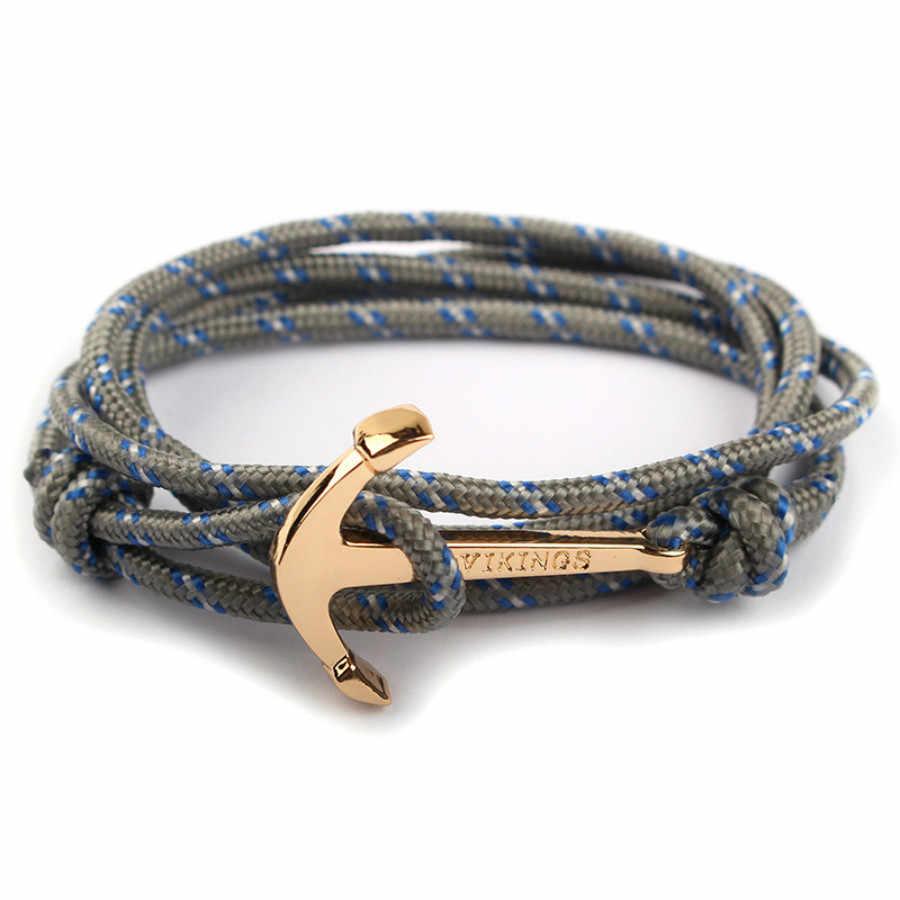 1 Pcs למכור אופנה גדיל צמידי אישיות כהה רוח סירה עוגן שחור חבל צמיד גברים נשים מתכת שרשרת יד
