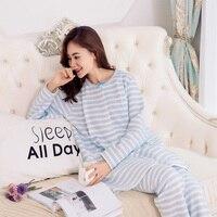 Maternity Nursing Pajamas Set Winter Warm Pregnant Sleepwear Breastfeeding Pajamas Free Shipping