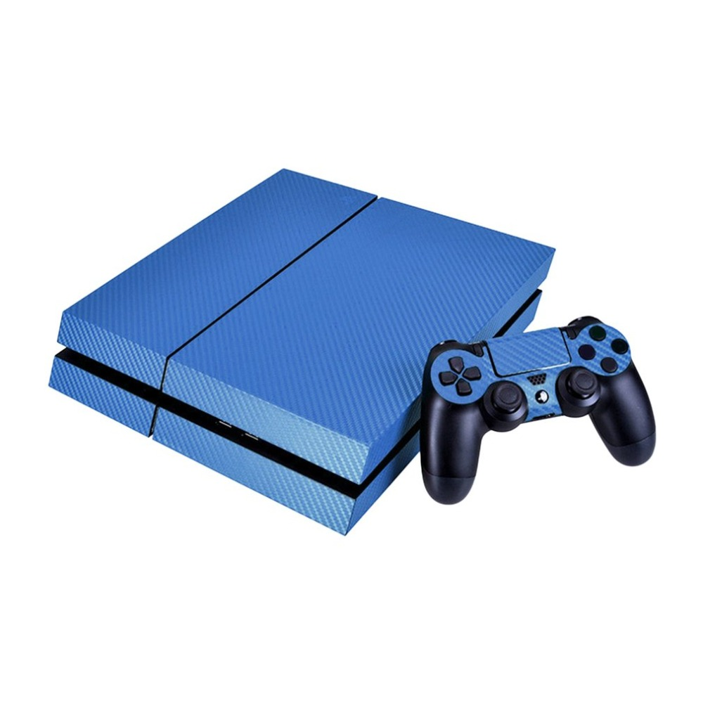 Simple Generous Single Color Carbon Fiber Protector Cover Skin For PS4 Console Sticker Decal & Game Controller Stickers For PS4