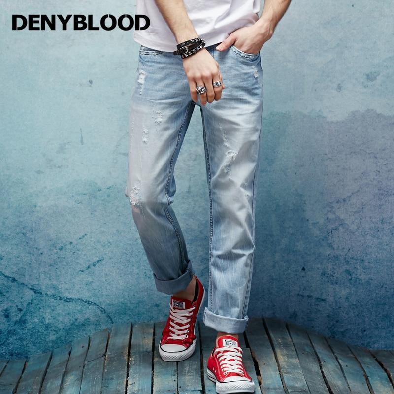 Denyblood Jeans 2017 Spring Summer Mens Denim Jeans Slim Straight - Vīriešu apģērbi