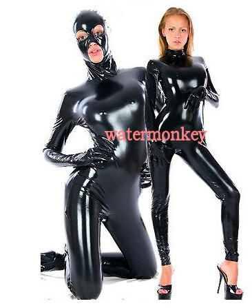 2019 New mask style Adult Sexy Women Full Body black Shiny PVC Suit Open Eyes Mouth Fancy Dress Zentai Suit removable hood
