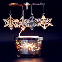 2017 Fragrance European Style Birds Wrought Iron Windmill Rotating Candlestick