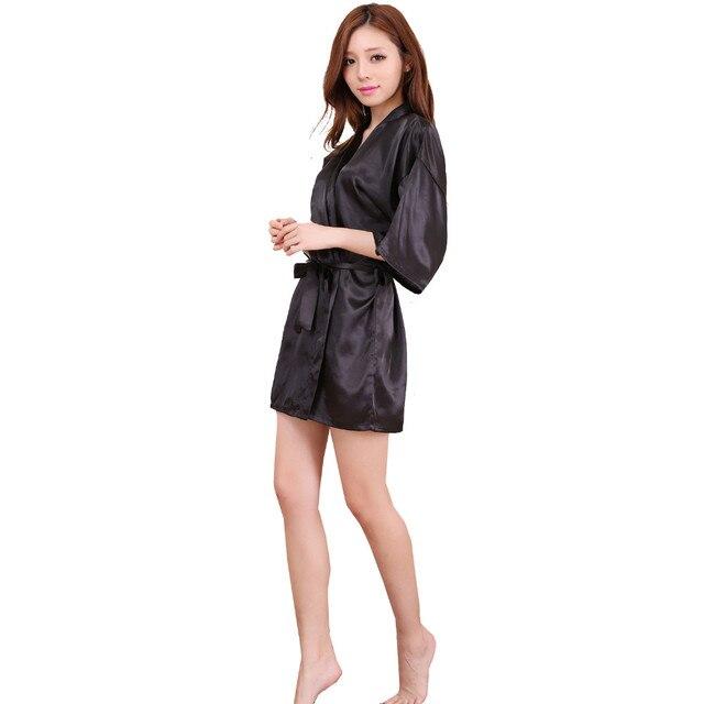 Черный Китайских Женщин Silk Район Одеяние Сексуальное Женское Белье Лето Lounge Кимоно Ночной Рубашке Пижамы pijama feminino Плюс Размер S-XXXL