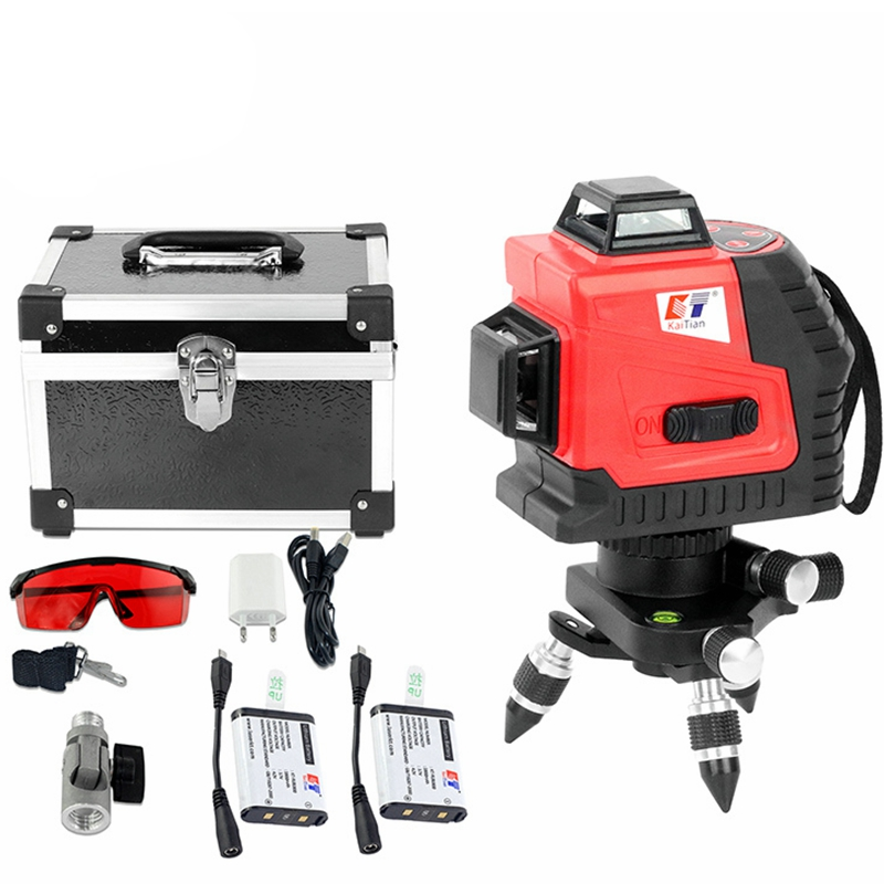 цена на KaiTian Laser Level 3D Self-Leveling 360 12Lines Horizontal and Vertical with Receiver Cross 650nm Nivel Laser Beam Line Tools