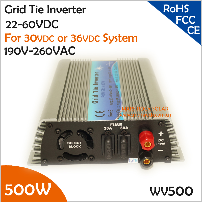 Promotion!!! 500W 22-50VDC 190-260VAC grid tie micro inverter working for 30V or 36V solar power system or wind system 500w micro grid tie inverter for solar home system mppt function grid tie power inverter 500w 22 60v