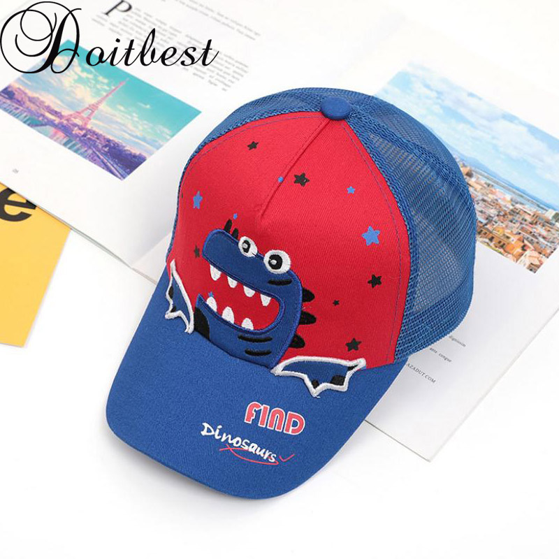 Doitbest 2 to 8 Years old Child   Baseball     Cap   HipHop Summer Small dinosaur kids Sun Hat mesh Boys Girls   Caps   snapback hats