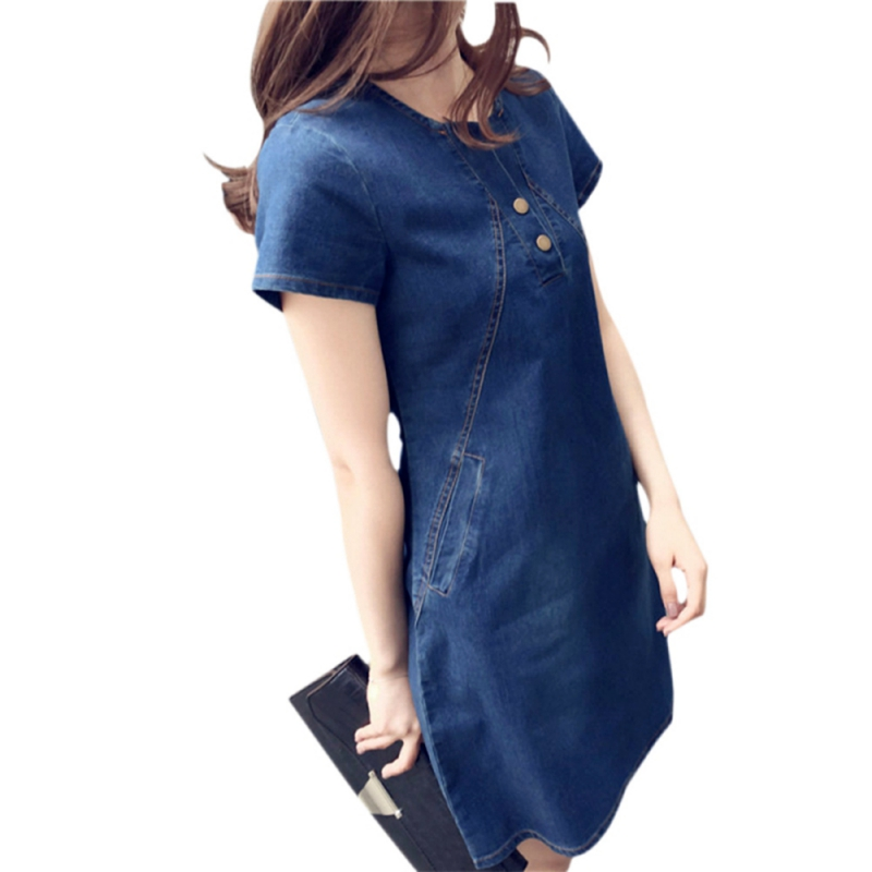 829a137244 Women Sexy Spring Autumn Summer Plus Size Denim Dress Casual Elegant Cowboy  Solid mid-long