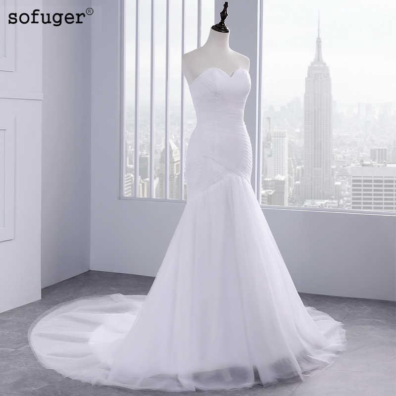 Offre spéciale Sexy Tulle trompette sirène robes de mariée sans bretelles pas cher robe de mariée Vestidos de Noivas à lacets dos