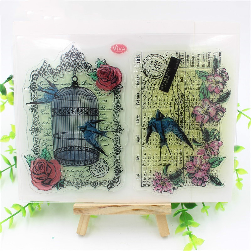 Bird cage Transparent Clear Silicone Stamps for DIY Scrapbooking/Card Making/Kids Fun Decoration Supply from 2012 ea1420 1ms new 0626 coastal bird stamps
