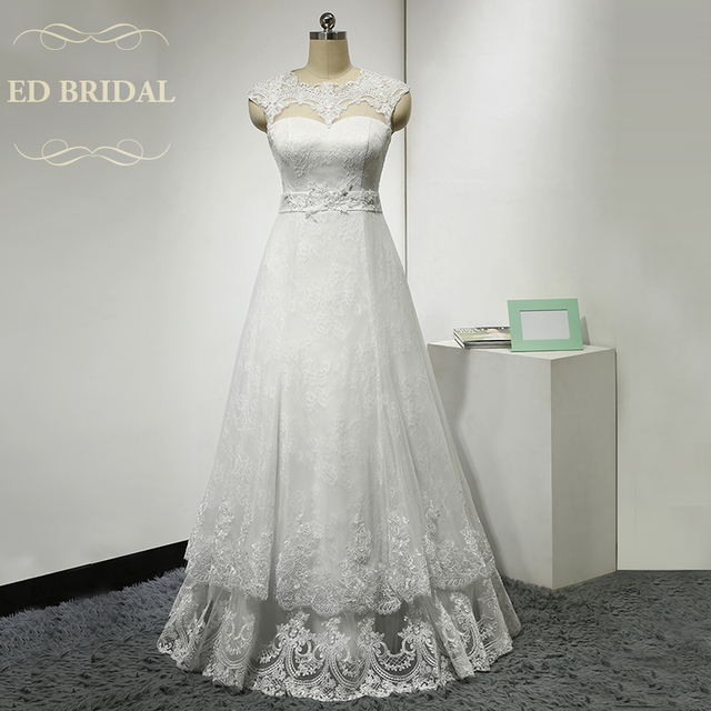 A Line Illusion Scalloped Neckline Layered Lace Wedding Dress Cap Sleeves Keyhole Corset Back Bridal Gown