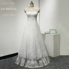 A Line Illusion Scalloped Neckline Layered Lace Wedding Dress Cap Sleeves Keyhole Corset Back Bridal Gown with Sash