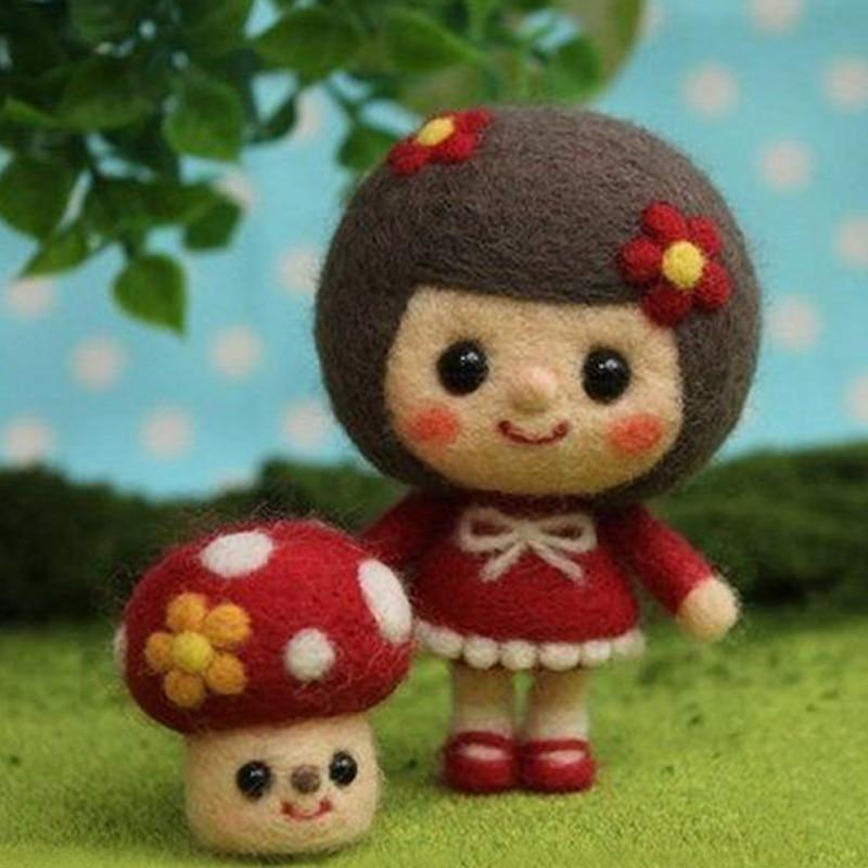 Lovely Girls Toy Doll Wool Felt Poked Kitting Non-Finished DIY