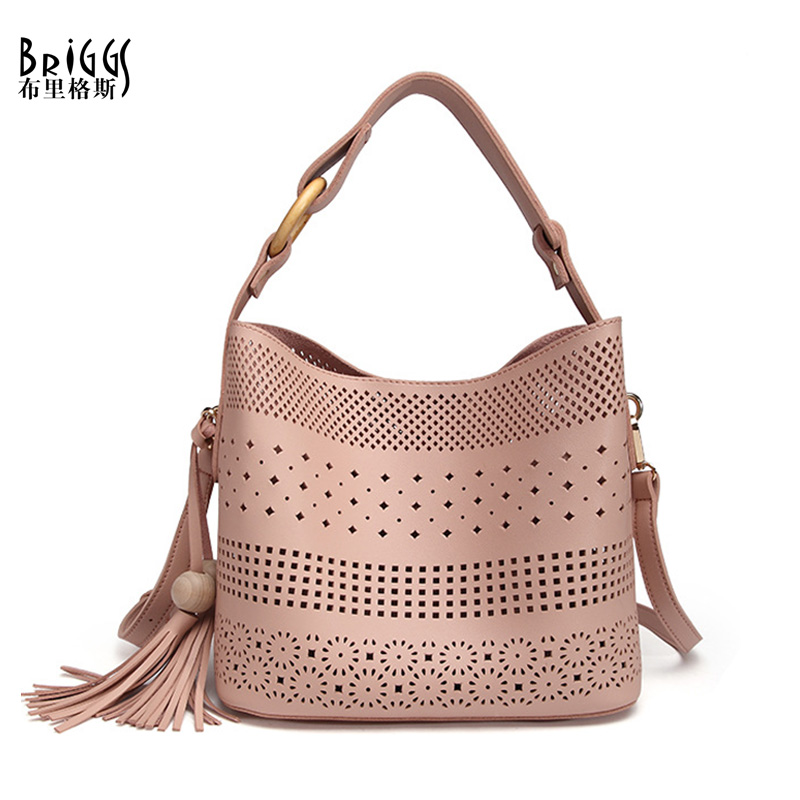 BRIGGS Hollow Out Women Shoulder Bag Female High Quality Composite Bag Ladies PU Leather Messenger Bag Women Famous Brand famous brand women bag high quality 100