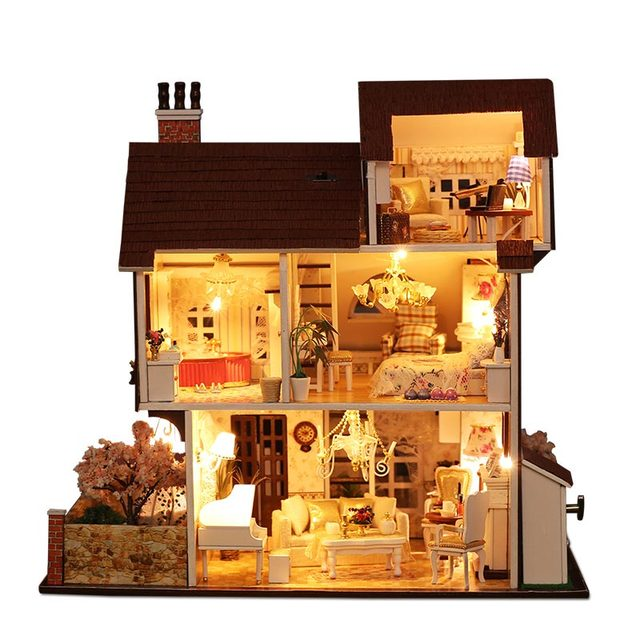 LED 3D Three Layers Large Brown Wood Doll House