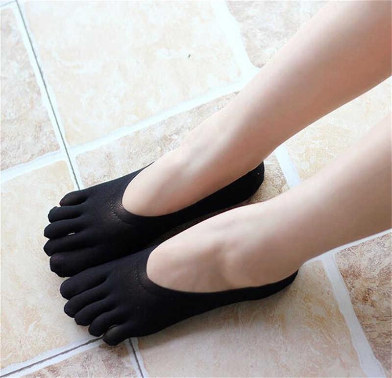 2019 חדש Invisible גרבי חמש אצבעות הבוהן סירת גרבי נשים מוצק חלקה נמוך לחתוך לא להראות קצר גרבי קיץ חם