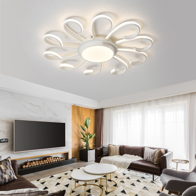 Led Ceiling Chandelier Modern Lamp Remote Control Dimming Fixture Living Room Bedroom Restaurant Dining